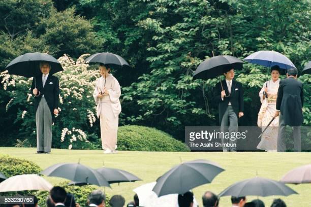 Emperor Akihito Empress Michiko Crown Prince Naruhito and Crown Princess Masako attend the Spring Garden Party at the Akasaka Imperial Garden on May...