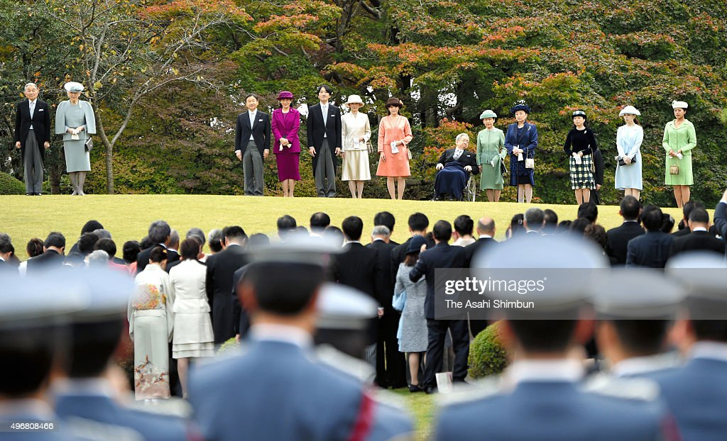 <a gi-track='captionPersonalityLinkClicked' href=/galleries/search?phrase=Emperor+Akihito&family=editorial&specificpeople=14011468 ng-click='$event.stopPropagation()'>Emperor Akihito</a>, <a gi-track='captionPersonalityLinkClicked' href=/galleries/search?phrase=Empress+Michiko&family=editorial&specificpeople=158725 ng-click='$event.stopPropagation()'>Empress Michiko</a>, <a gi-track='captionPersonalityLinkClicked' href=/galleries/search?phrase=Crown+Prince+Naruhito&family=editorial&specificpeople=158365 ng-click='$event.stopPropagation()'>Crown Prince Naruhito</a>, <a gi-track='captionPersonalityLinkClicked' href=/galleries/search?phrase=Crown+Princess+Masako&family=editorial&specificpeople=580174 ng-click='$event.stopPropagation()'>Crown Princess Masako</a>, Prince Akishino, Princess Kiko of Akishino, Princess Mako of Akishino, Prince Hitachi, Princess Hanako of Hitachi, Princess Nobuko of Mikasa, <a gi-track='captionPersonalityLinkClicked' href=/galleries/search?phrase=Princess+Akiko+of+Mikasa&family=editorial&specificpeople=9605121 ng-click='$event.stopPropagation()'>Princess Akiko of Mikasa</a>, Princess Yoko of Mikasa and <a gi-track='captionPersonalityLinkClicked' href=/galleries/search?phrase=Princess+Tsuguko+of+Takamado&family=editorial&specificpeople=7160434 ng-click='$event.stopPropagation()'>Princess Tsuguko of Takamado</a> attend the Autumn Garden Party at the Akasaka Imperial Gardens on November 12, 2015 in Tokyo, Japan. <a gi-track='captionPersonalityLinkClicked' href=/galleries/search?phrase=Crown+Princess+Masako&family=editorial&specificpeople=580174 ng-click='$event.stopPropagation()'>Crown Princess Masako</a> made the first attendance at the party in twelve years.