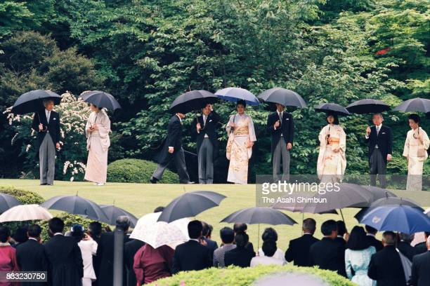 Emperor Akihito Empress Michiko Crown Prince Naruhito Crown Princess Masako Prince Akishino Princess Sayako Prince Hitachi and Princess Hanako of...