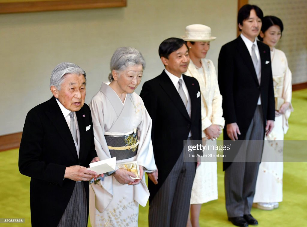 Emperor Akihito, Empress Michiko, Crown Prince Naruhito, Crown Princess Masako, Prince Akishino and Princess Kiko of Akishino attend the tea party with Order of Culture laureates at the Imperial Palace on November 6, 2017 in Tokyo, Japan.