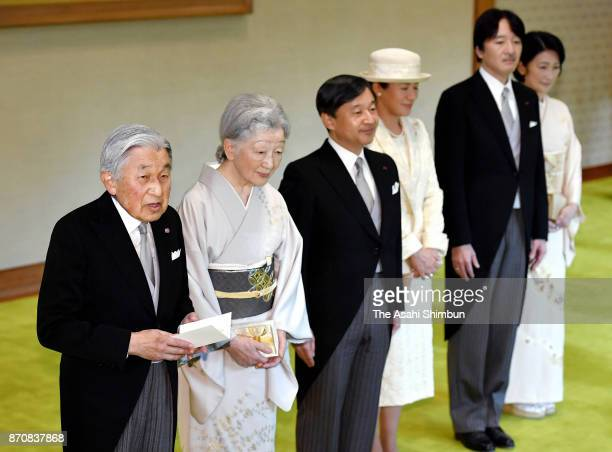 Emperor Akihito Empress Michiko Crown Prince Naruhito Crown Princess Masako Prince Akishino and Princess Kiko of Akishino attend the tea party with...