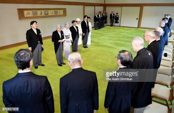 Emperor Akihito Empress Michiko Crown Prince Naruhito Crown Princess Masako Prince Akishino and Princess Kiko of Akishino attend the tea party with...