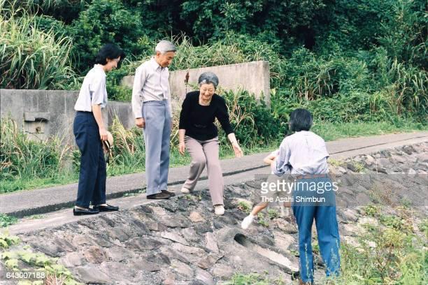 Emperor Akihito Empress Michiko Prince Akishino Princess Kiko Princess Mako and Princess Kako are seen near the Suzaki Imperial Villa on August 27...