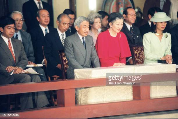 Emperor Akihito Empress Michiko Prince Takamado and Princess Hisako of Takamado attend the Imperial Household Agency's Music division concert at the...