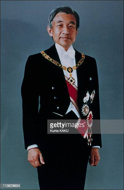 Emperor Akihito And Empress Michiko In Traditional Dress In Japan On November 08 1990 Akihito in full formal attire with decorations