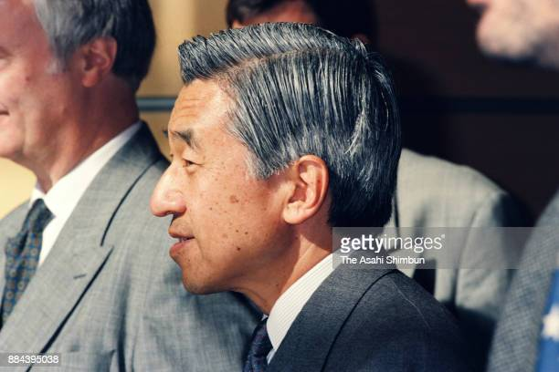 Emperor Akihito is seen at the National Museum of Natural History on October 6 1994 in Paris France