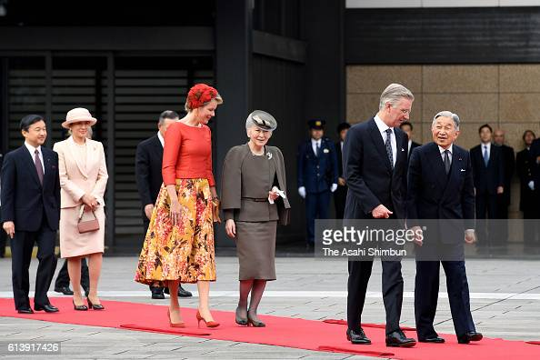 Emperor Akihito King Philippe of Belgium Empress Michiko Queen Mathilde of Belgium Crown Princess Masako and Crown Prince Naruhito walk to attend the...