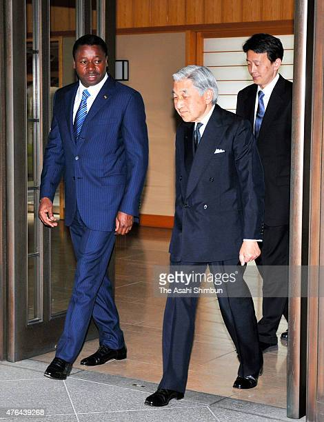 Emperor Akihito sees off Togo President Faure Essozimna Gnassingbe after their meeting at the Imperial Palace on June 9 2011 in Tokyo Japan
