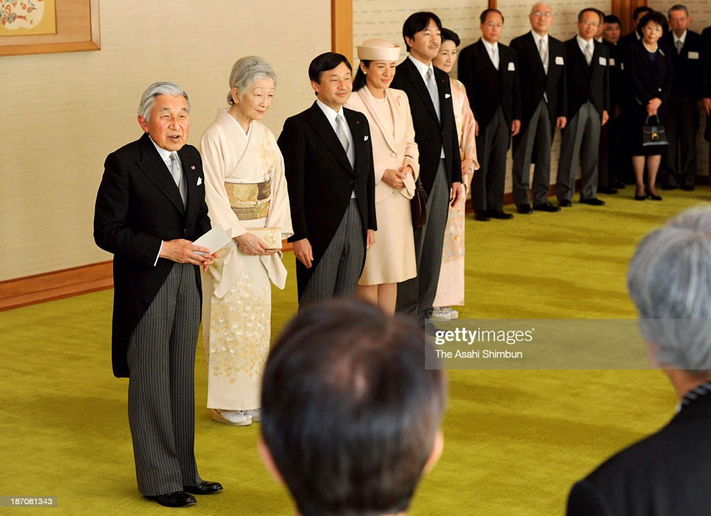 Emperor Akihito (1st L) speaks while Empress Michiko (2nd L), Crown Prince Naruhito (3rd L), Crown Princess Masako (3rd R), Prince Akishino (2nd R) and Princess Kiko of Akishino (1st R) attend the tea party the recipients of the Order of Culture were invited at the Imperial Palace on November 5, 2013 in Tokyo, Japan.
