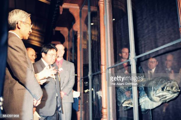 Emperor Akihito visits the National Museum of Natural History on October 6 1994 in Paris France