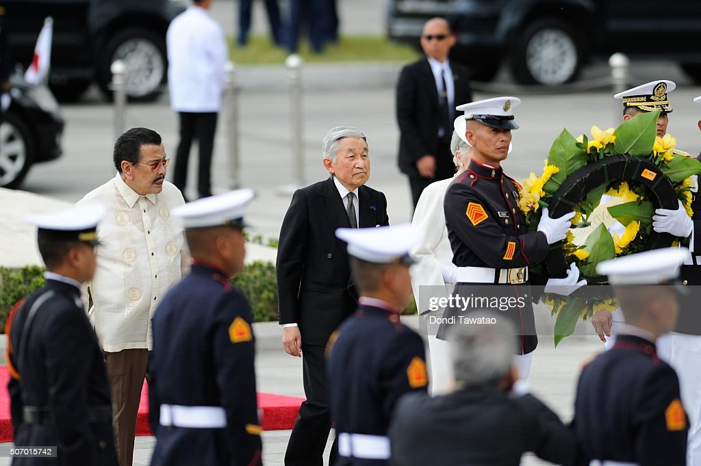 <a gi-track='captionPersonalityLinkClicked' href=/galleries/search?phrase=Emperor+Akihito&family=editorial&specificpeople=14011468 ng-click='$event.stopPropagation()'>Emperor Akihito</a> walks with Manila Mayor <a gi-track='captionPersonalityLinkClicked' href=/galleries/search?phrase=Joseph+Estrada&family=editorial&specificpeople=553277 ng-click='$event.stopPropagation()'>Joseph Estrada</a> as they offer a wreath of flowers at the monument of Philippine national hero Jose Rizal on January 27, 2016 in Manila, Philippines. The emperor and empress of Japan started their five-day state visit to the Philippines on Tuesday to highlight the 60 years of strong diplomatic ties between the two nations.