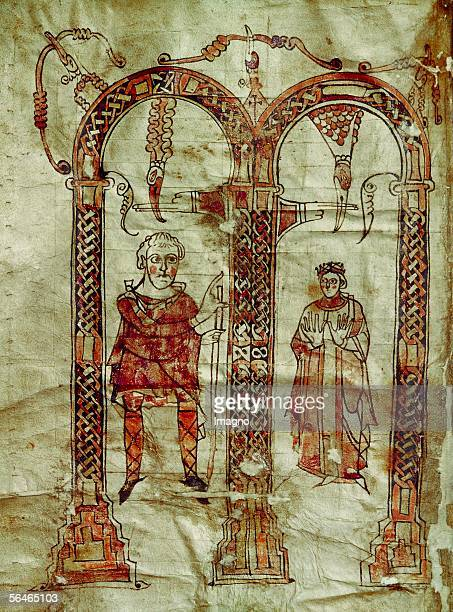 Emperor Charlemagne and his wife Detail from an illuminated manuscript page Abbey Library StPaul im Lavanttal Austria [Karl der Grosse mit seiner...