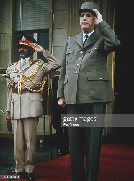Emperor Haile Selassie of Ethiopia with French President Charles De Gaule in Addis Ababa in August 1966