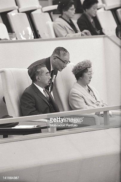 The Emperor of Japan Hirohito and Empress Nagako watching the Olympic Games at the Tokyo Stadium Tokyo October 1964