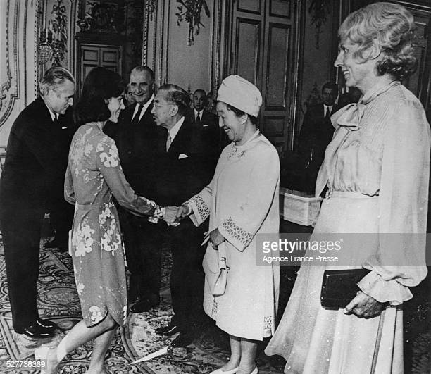 Emperor Hirohito and Empress Nagako of Japan attend a luncheon at the Elysee Palace during a threeday visit to Paris France 2nd October 1971 Here...