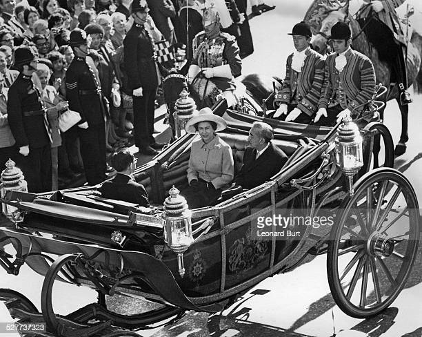 Emperor Hirohito of Japan rides with Queen Elizabeth II in an open carriage to Buckingham Palace at the start of a threeday visit to London 5th...