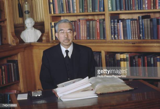 Emperor Hirohito of Japan signs the visitors book at the Royal Society in Carlton House Terrace London in October 1971 Emperor Hirohito is currently...