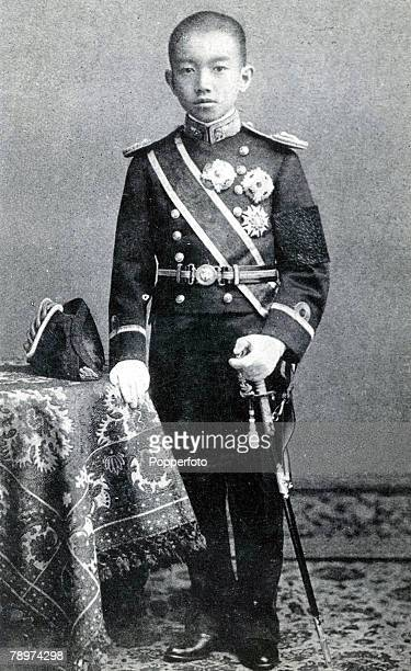 Emperor Hirohito of Japan whose fomal installation as crown prince has just taken place with all the ancient ceremonies at Tokio