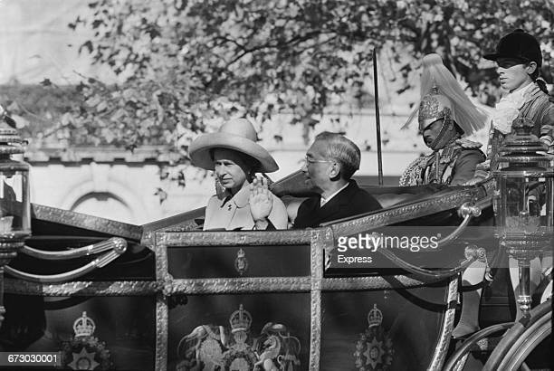 Emperor Hirohito of Japan with Queen Elizabeth II during his state visit to the UK London 5th October 1971