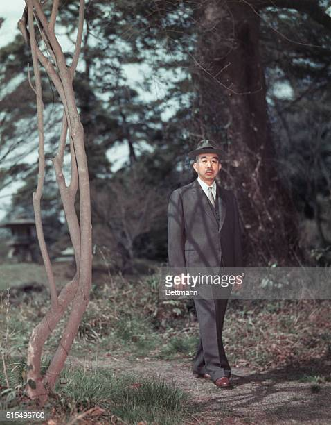 Emperor Hirohito Strolling About Imperial Palace