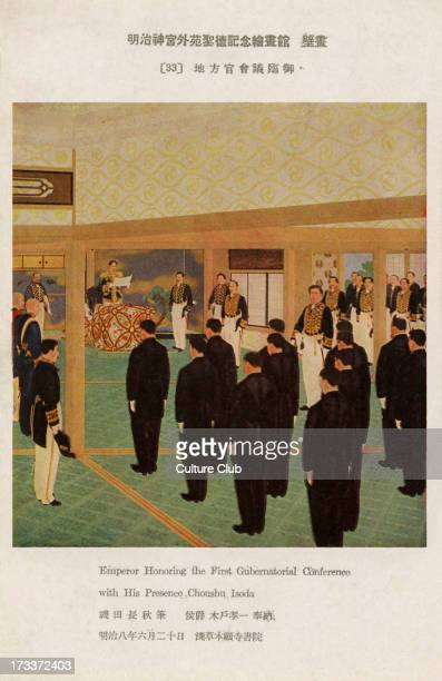 Emperor Meiji at the first Gubernatorial Conference Japan's rapidly growing bureaucracy under Emporer Menji necessitated the introduction of...