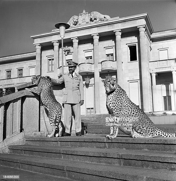 Emperor of Ethiopia Haile Selassie in front of the Jubilee Palace in Addis Ababa Ethiopia on THE TWENTIETH CENTURY Episode called 'Ethiopia The Lion...