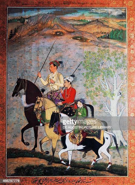 Emperor Shah Jahan's three sons Mughal school tempera India 17th century