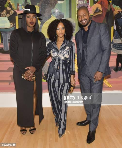 'Empire' actors Ta'Rhonda Jones Serayah McNeill and Morocco Omari attend MOCA's Leadership Circle and Members' opening of Kerry James Marshall Mastry...