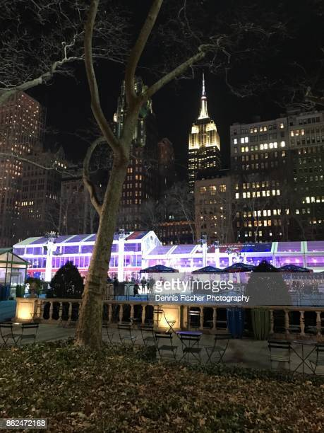 Empire State Building and Bryant Park at night