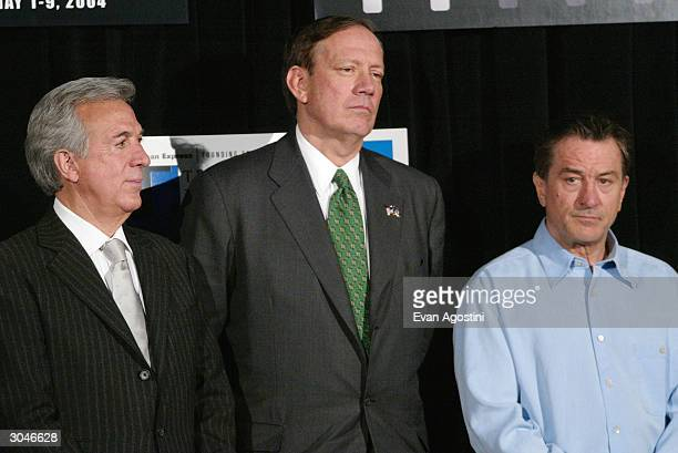 Empire State Development Chairman Charles Gargano New York Governor George Pataki and actor Robert De Niro attend the 2004 Tribeca Film Festival...