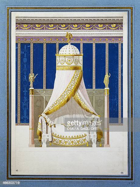 Empire style bed designed by Dominique Arnoux pen and watercolour France 19th century