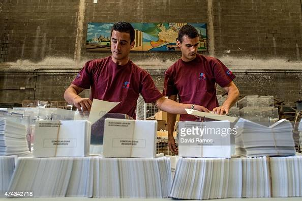 Employee load set ballot boxes at Municipal Workshops on May 21 2015 in Barcelona Spain Spain will hold Regional and Municipal elections on May 24