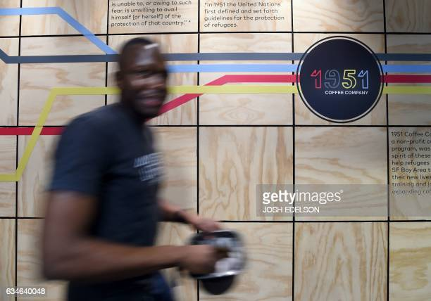 Employee Nicholas Webaza a refugee from Uganda works at 1951 Coffee Company in Berkeley California on February 09 2017 The 1951 Coffee Company is a...
