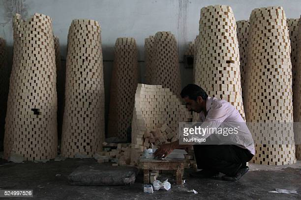 Employee works on packing a soap pieces Nablus's old town of the West Bank on May 31 2015 Nablus city northern of the Palestinian territories of the...