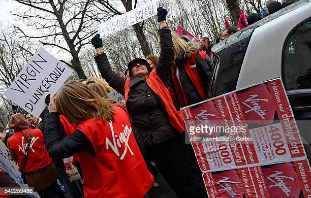Employees and unions of the Virgin Megastore demonstrate in front of the office building of Virgin investor Butler Capital Partners in Paris The...