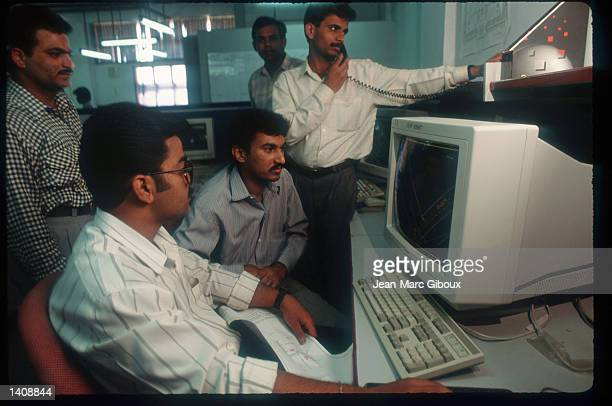 Employees at Infosys use computers to do their work March 12 1996 in Bangalore India Bangalore housing over 6 million people with a thriving business...