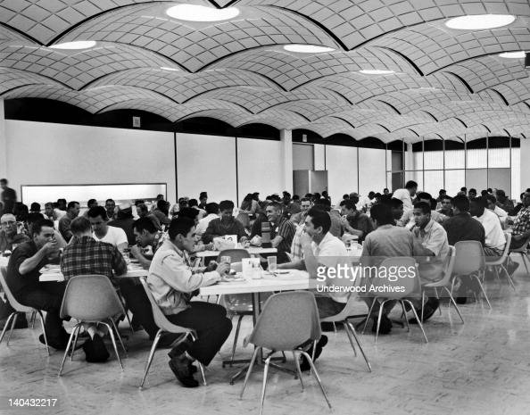 Employees at the cafeteria for the hourly rate workers at the new GM Fremont Assembly Plant Fremont California circa 1961 It will seat a total of...