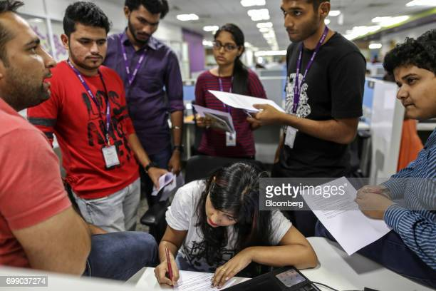 Employees attend a meeting at the Think and Learn Pvt office in Bengaluru India on Wednesday April 5 2017 Online learning is exploding in India and...