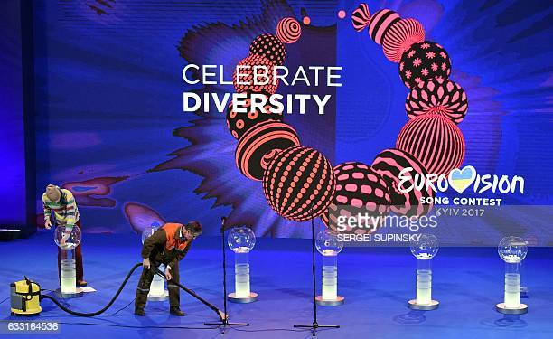 Employees clean during preparations prior to the semifinal allocation draw of the Eurovision Song Contest 2017 in Kiev on January 31 2017 The...