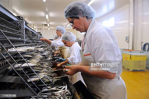 Employees cut off heads of sardines for canning on July 8 2013 at the Gonidec canning fish factory in Concarneau western of France Gonidec canning...