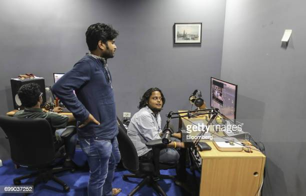 Employees edit a soundtrack for the BYJU'S learning app in the recording studio of the Think and Learn Pvt office in Bengaluru India on Wednesday...