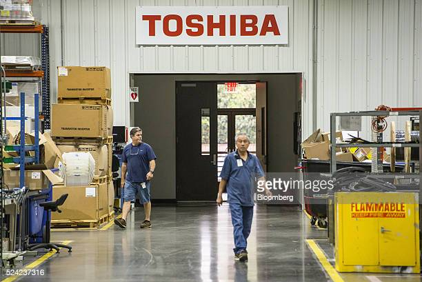 Employees enter the Toshiba International Corp manufacturing facility in Houston Texas US on Monday April 26 2016 The US Census Bureau is scheduled...