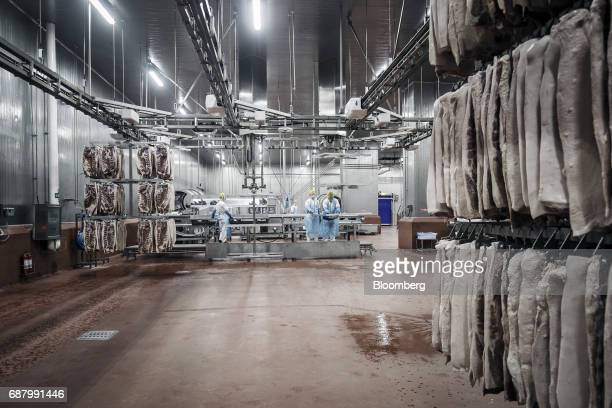 Employees handle imported Smithfield Foods Inc pork bellies on a production line that processes the pork into bacon at the WH Group Ltd facility in...