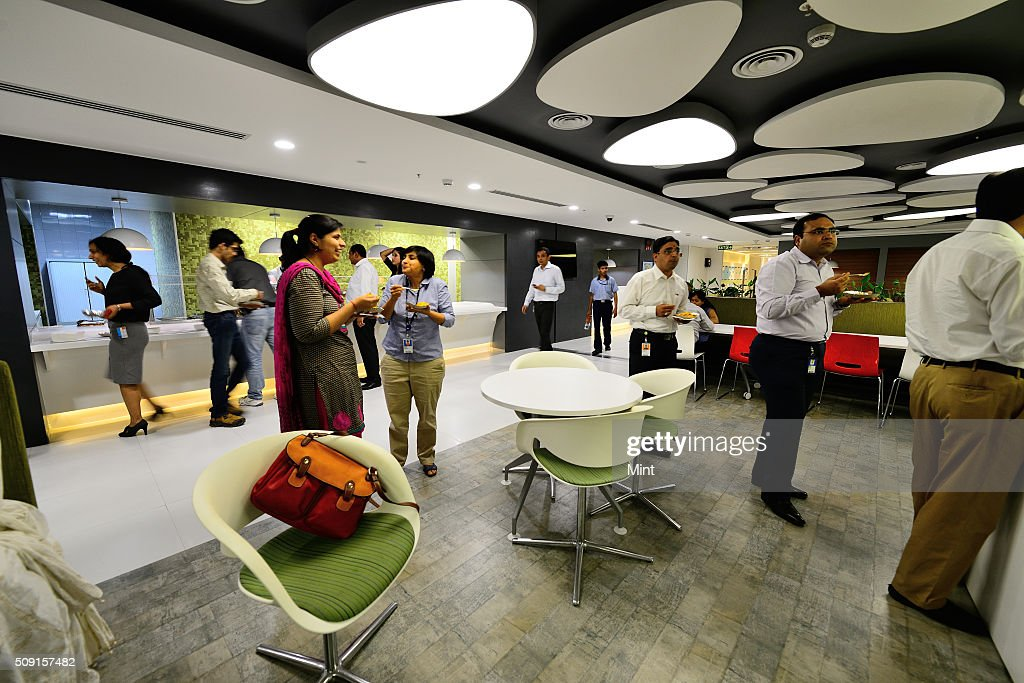 Employees having lunch at cafeteria in spacious Microsoft office designed for their comfort on May 7, 2014 in Gurgaon, India.