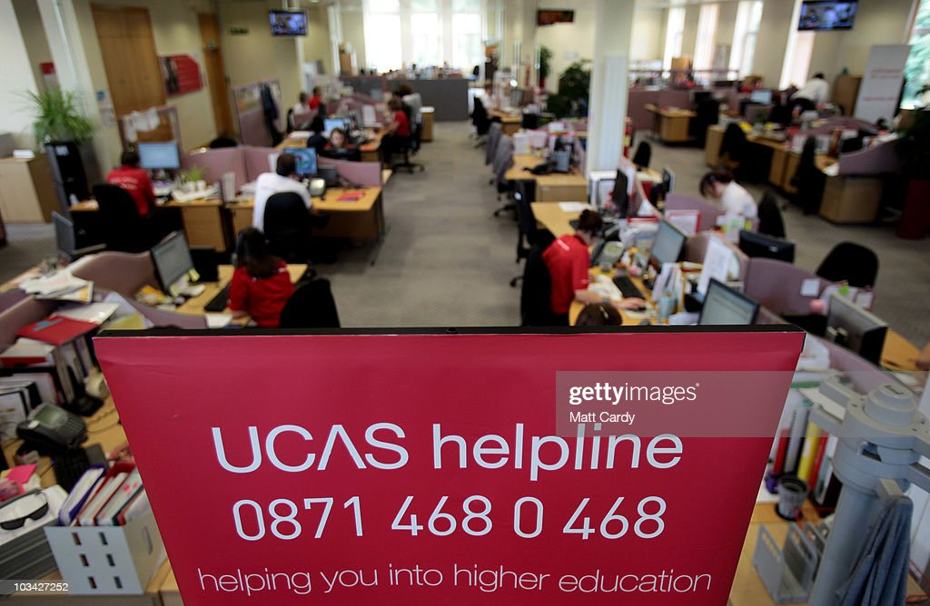 Employees in the UCAS clearing house call centre answers telephone enquiries as they prepare to assist A-level students ahead of results day on August 18, 2010 in Cheltenham, England. With A-level results published in England and Wales tomorrow, the university admissions service (UCAS) say they are expecting 'even greater' pressure this year during the clearing process - which matches students who have been turned down by their original choices, to other courses. A record 170,000 students will miss out on places at university, which is due to the record number of applicants, up 11.6 percent this year.