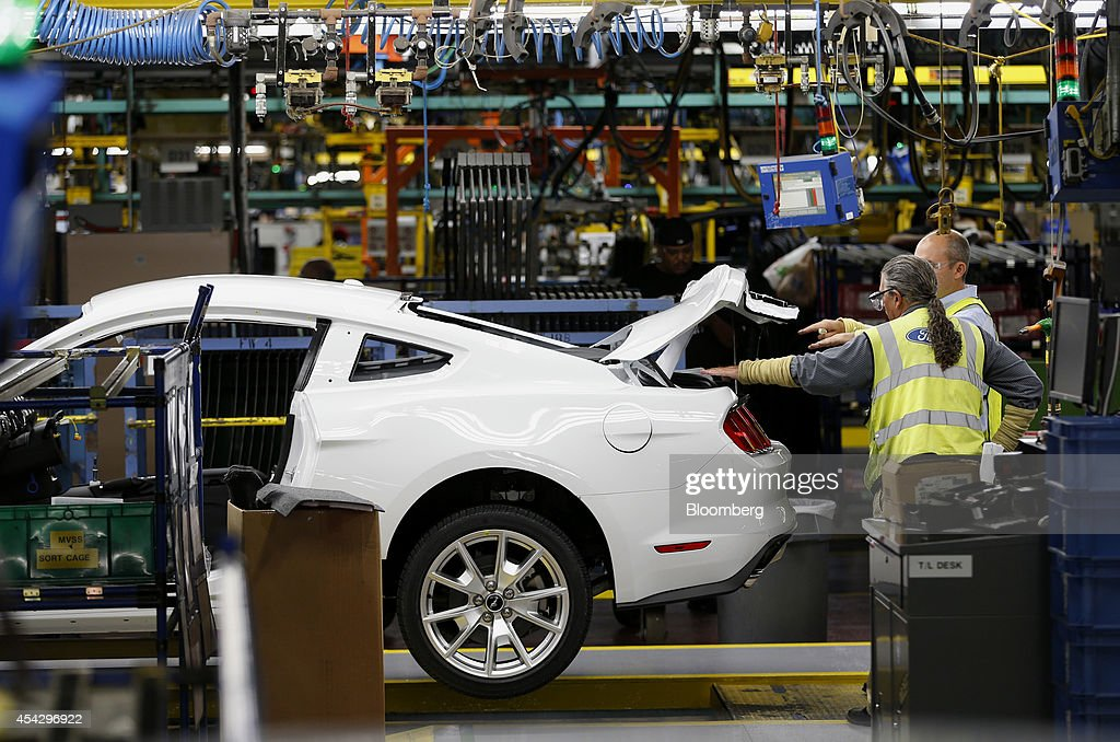 ford motor co 2015 mustang on the production line at the company. Cars Review. Best American Auto & Cars Review