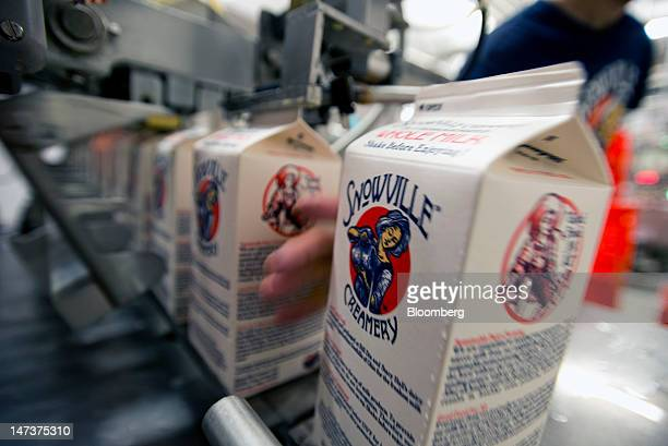 Employees load sealed milk cartons off the production line into crates for delivery at the Snowville Creamery in Pomeroy Ohio US on Thursday June 28...