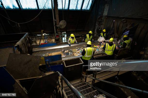 Employees manually sort out larger objects at the first section of the production as multiple layers of conveyer belts transport sorted and unsorted...