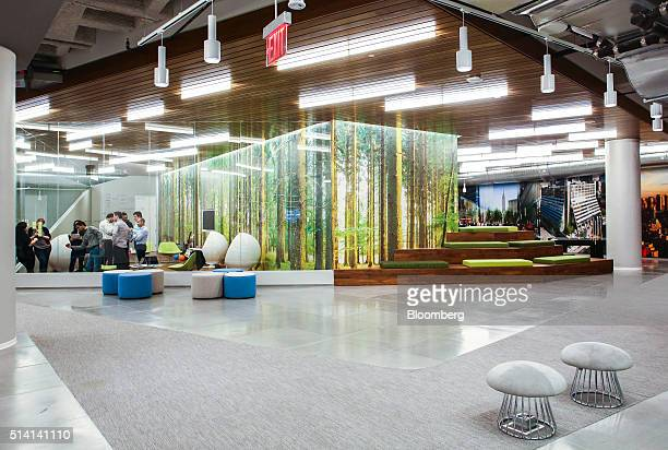 Employees meet in a conference room at JPMorgan Chase Co's new technology hub across the street from the Hudson Yards development on Manhattans West...