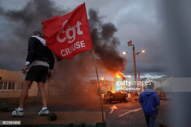Employees occupy the plant of the GMS company on June 27 2017 in La Souterraine central France to call for a plan to rescue the company Around 280...